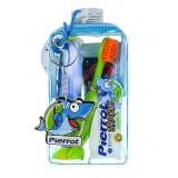 Pierrot Детский набор Акула, оранжевый + бирюзово-фиолетовая акула + желтый чехол Kids Sharky Dental Kit
